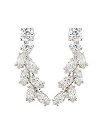 Sweep up CZ Crystal Ear Vine Wrap Pin Ear Cuffs Climbers Hook Earrings (silver-plated-base)