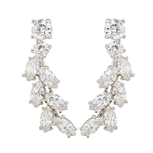 Chicinside Sweep up CZ Crystal Ear Wrap Pin Ear Cuffs Climbers Hook Earrings (silver-plated-base) by Chicinside