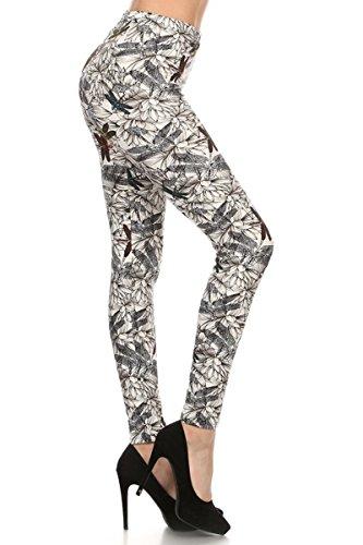 R503-PLUS Dragonflies and Lilies Print Fashion Leggings