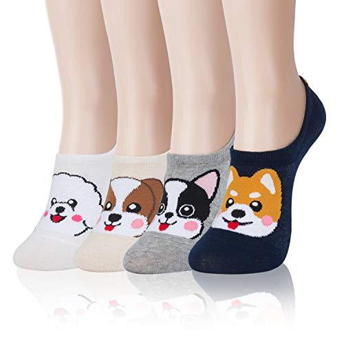 Kikiya Socks 4 pairs of No Show Socks #2 Happy Puppy - No Show Casual Socks