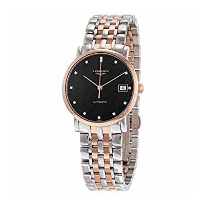 Longines Elegant Automatic Black Diamond Dial Steel and 18kt Rose Gold Ladies Watch L48095577 from Longines