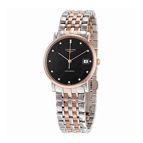 Dial Diamond Gold Black (Longines Elegant Automatic Black Diamond Dial Steel and 18kt Rose Gold Ladies Watch L48095577)