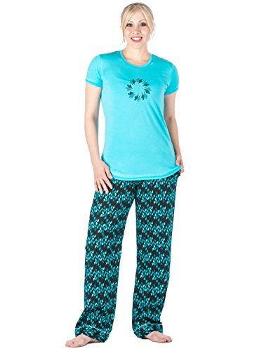 Lounge Heart Set (Womens 100% Cotton Poplin Lounge Set - Hearts On Fire Black - X-Large)