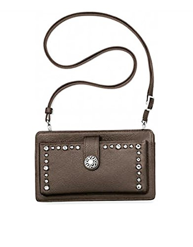 (Brighton Pretty Glam Jeweled Pewter Leather Pocket Organizer Cross Body Purse)
