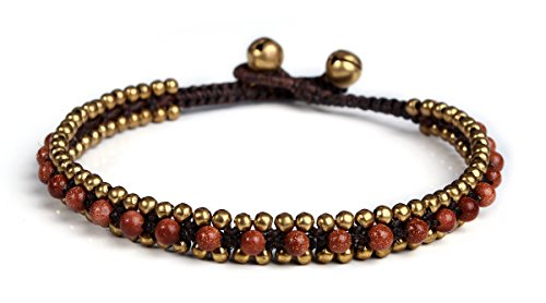 Lannaclothesdesign Womens Beaded Anklet with Brass Beads Adjustable 9.5 inches