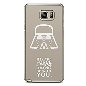 Designer iPhone Samsung Note 5 Tranparent Edge Case - May the force of typography