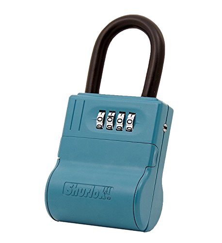 ShurLok SL-600W 4 Dial Numbered Key Storage Combination Lock Box, Blue (Kingsley Weather)