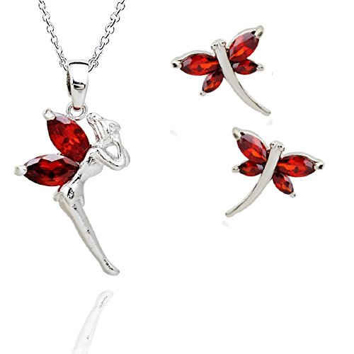 [18 ct Gold Plated Red Garnet Zirconia Austrian Crystals Set Necklace Earrings Fairy Tinkerbell] (Garnet Swarovski Austrian Crystal)
