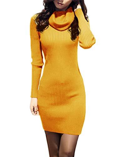 v28 Women Cowl Neck Knit Stretchable Elasticity Long Sleeve Slim Fit Sweater Dress (10-16,Mustard)