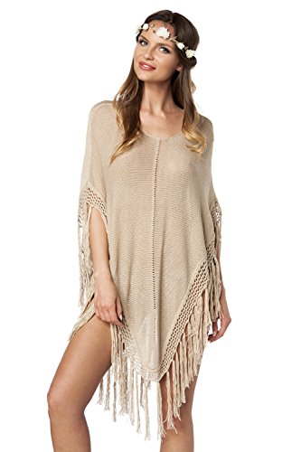 Knit Poncho of luxury & good Dessous Beige
