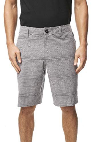 O'Neill Men's Water Resistant Hybrid Walk Short, 20 Inch Outseam (Dark Pewter/Locked Stripe, 34)