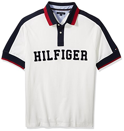 Tommy Hilfiger Men's Big and Tall Polo Shirt With Logo, Snow White, TL-L