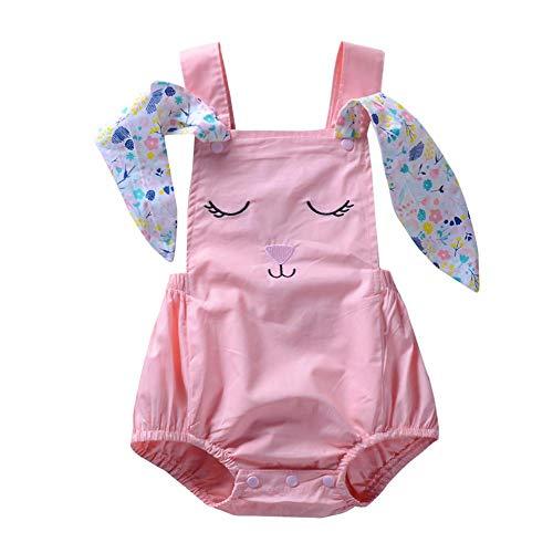 (Baby Girls Rabbit Ears Romper Sleeveless Cartoon Animal Jumpsuit (Pink 0-6M Anidalec)