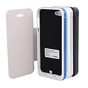 5V 3000mAh Rechargeable External Power Back Battery Case for iPhone 5/5S with PU Front Cover