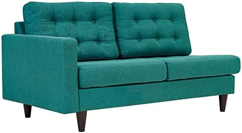 Modway Empress Mid-Century Modern Upholstered Fabric Left-Facing Loveseat In Teal