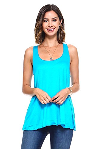 Simplicitie Women's Sleeveless Loose Fit Flowy Workout Racerback Tank Top - Turquoise, Large - Made in USA