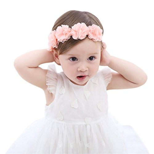 (Fmeida Baby Girls Headband Flower Birthday Crown Hair Band-Gift for Baby (Pink Flower))