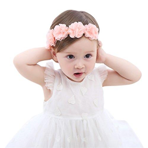 Fmeida Baby Girls Headband Flower Birthday Crown Hair Band-Gift for Baby (Pink Flower)