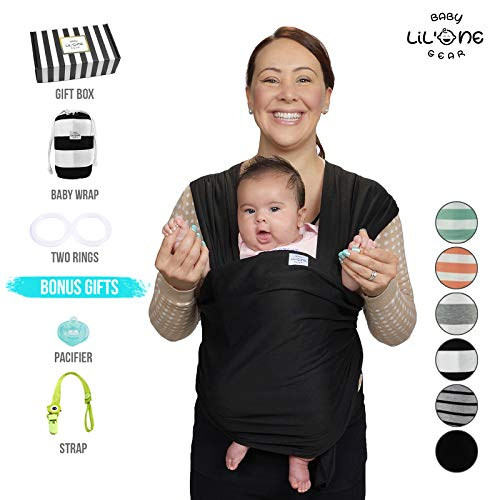 Baby Wrap Carrier, Infant Ring Sling, Newborn 0-35lbs Soft Breathable Lightweight Organic Cotton, Stretchy Adjustable All In 1. Bonus Gift Nursing Cover, Postpartum Belt Perfect Baby Shower Gift ()