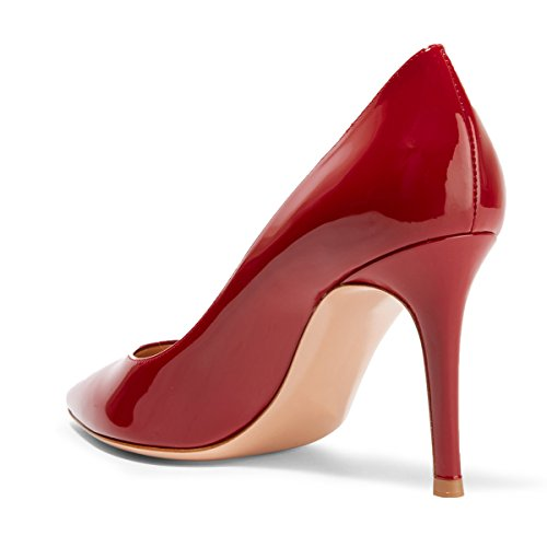 FSJ Women Formal Pointy Toe Pumps Stiletto High Heels Slip On Business Office Lady Shoes Size 4-15 US Red Patent Svkf1t2r