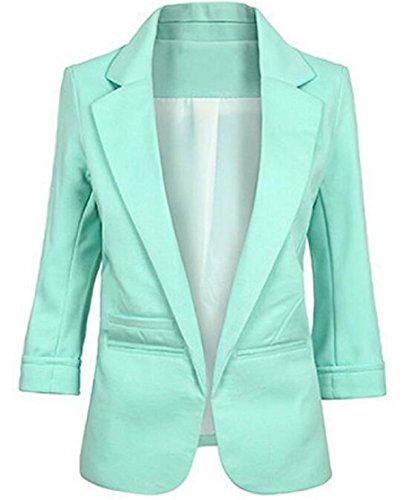 Faddish Women's Cotton Basic Boyfriend Ponte Rolled Blazer Jacket Suits Light Green ()