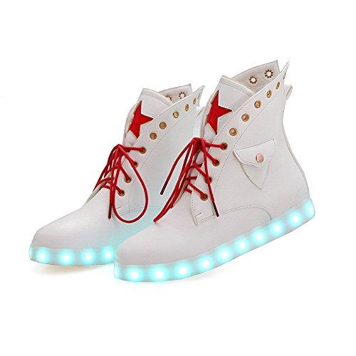 AgooLar Damen Gemischte Farbe Weiches Material Niedriger Absatz Schnüren Rund Zehe Stiefel Weiß