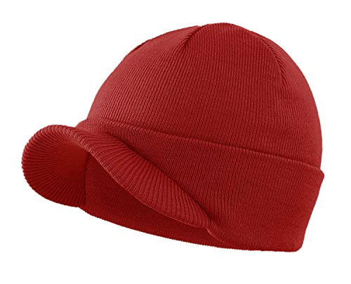 Home Prefer Men's Winter Beanie Hat with Brim Warm Double Knit Cuff Beanie Cap (Red)