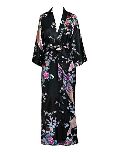 (Old Shanghai Women's Kimono Long Robe - Peacock & Blossoms - Black (on-seam pocket) )