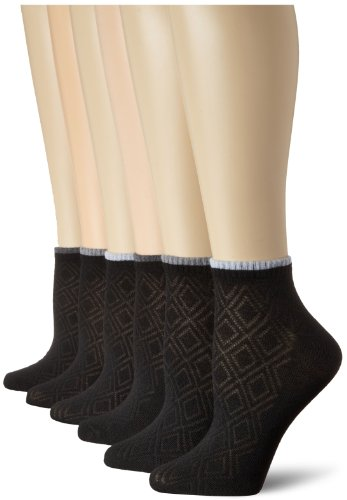 jones-new-york-womens-6-pack-diamond-textures-and-ribs-sport-lowcut-jet-black-one-size