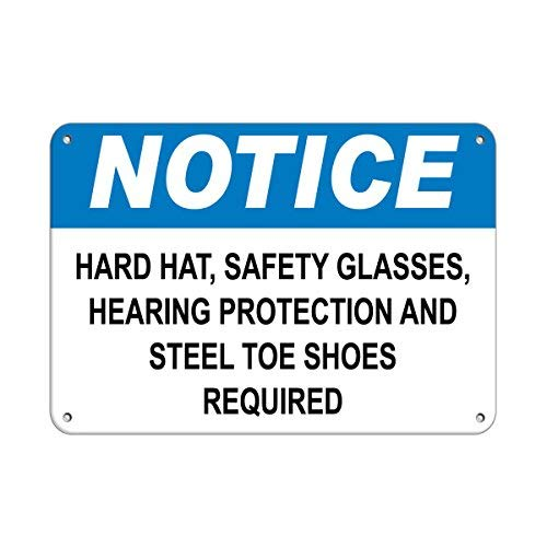 Hard Hat Glasses Hearing Protection and Steel Toe Shoes Funny Metal Tin Sign Art Wall Decor Rust Free Heavy Duty Aluminum -