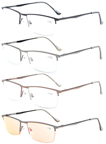 Eyekepper 4-Pack Quality Spring Hinges Half-Rim Reading Glasses Include Computer Readers +1.5 Spring Temple Half Reading Glasses