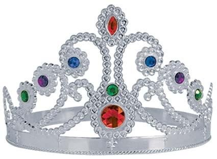 Plastic Jeweled Queen's Tiara (silver) Party Accessory  (1 count) (1/Pkg)