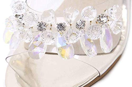 sandali donna abbinati tutti di piatte sexy con Pantofole in aperte estive i diamanti Dotate trasparenti tacchi donna oro da per zeppa cristallo OnPxvP5