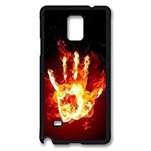 Fire Hand Custom Back Phone Case for Samsung Galaxy Note 4 PC Material Black -1210192