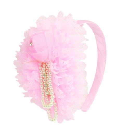 DealMux Girls Mesh Flower Rose Beads Accent Light Pink Hair Hoop Headband Gift