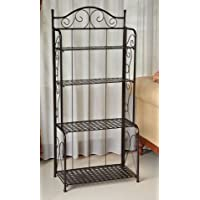 K&A Company Indoor / Outdoor Folding 4 Shelf Bakers Rack Shelves Storage in Bronze with Lattice Shelves 25.5W x 10D x 59H inches