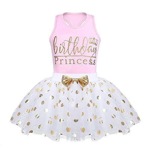 Toddler Kids Baby Girl's Birthday Outfits Princess Vest Sleeveless Shirt Mesh Tutu Skirt Set (White Birthday Princess, 5-6 Years Old) ()