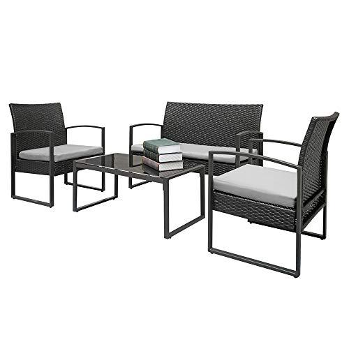 - 2pcs Arm Chairs 1pc Love Seat & Tempered Glass Coffee Table Rattan Sofa Set Black