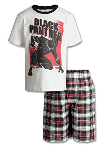 Marvel Avengers Black Panther Boys' T-Shirt & Shorts Set Plaid, Little Kids (White, 6) -