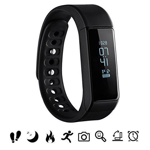 OMORC Bluetooth Fitness Tracker, Sport Armband I5 Plus SmartWatch OLED Uhr Aktivitätstracker smart Bracelet mit Schlafmonitor, Schrittzähler, Kalorienzähler, SMS Anrufe Reminder-Schwarz