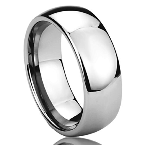 Domed Comfort Fit Wedding Ring - 8MM Stainless Steel Mens Womens Rings High Polished Classy Domed Comfort Fit Wedding Bands SZ: 6
