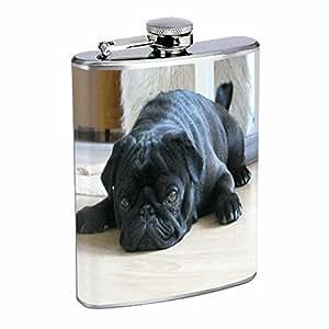 Dog black pug Flask 8oz