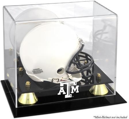 Texas A&m Acrylic (Texas AM Logo Mini Helmet Display Case | Details: Golden Classic, Mirror Back)