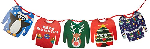 Talking Tables ENT-GARLAND Christmas Entertainment Jumper Hanging Garland Bunting, Multicolor (Christmas Jumper Decorations)