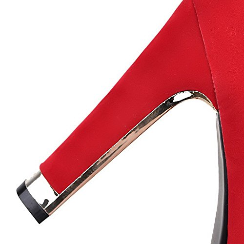 Allhqfashion Suede Closed Zipper Boots Imitated Women's Toe Heels Round High Red Solid rBtZrqFxwp