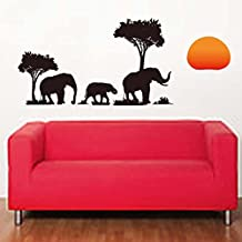 The Sun Trees Elephants Wall Decal Home Sticker Paper Removable Living Room Bedroom Art Picture DIY Mural Girls Boys kids Nursery Baby Playroom Decoration + Gift Colorful Butterflies
