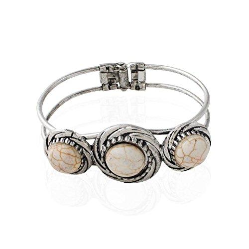 , Vintage Bohemian Plating Alloy Bracelet Turquoise Circle Bangle Ladies Girls Jewelry (Beige) (Heavy Jade Ring)