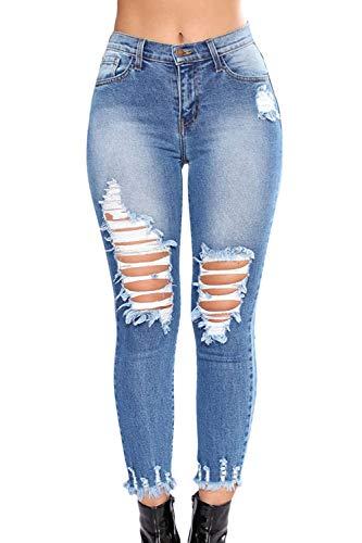 Jeans Pantalones Women Pantalones Tobillo Azul Borla Denim Skinny Ripped Sevozimda Legging qawZH1EZ