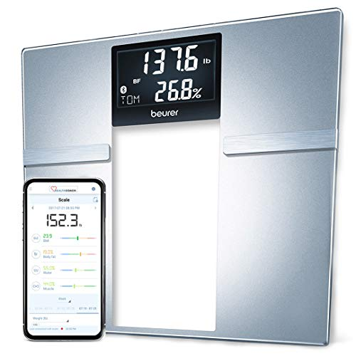 Beurer BF70 Body Fat Scale, Body Weight, Body Fat, Body Water & More, Smart Digital Scale for Full Body Analysis, BMI & Calorie Display, App Sync via Bluetooth, User Recognition, 8 Memory Spaces