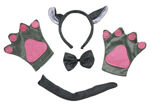 Grey Wolf Headband Bowtie Tail Glove 4pc Costume for Kid Halloween School Party